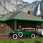1930 Gas Station YOSEMITE-NATIONAL-PARK-USA by Walter Colvin