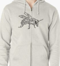 """Bee Spirit"" ver.1 - Surreal abstract tribal bee totem animal Zipped Hoodie"