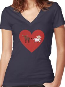 Moose and Lamb Muslim Love  Women's Fitted V-Neck T-Shirt