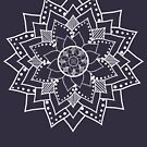 Mehndi / Henna style lotus flower blossom (white) by VisionQuestArts