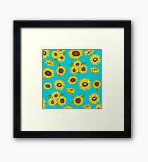 Grunge Sunflower Pattern Framed Print