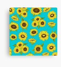 Grunge Sunflower Pattern Canvas Print
