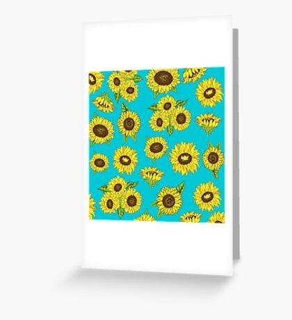 Grunge Sunflower Pattern Greeting Card