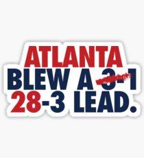 Atlanta Blew A (3-1) 28-3 Lead. (Red/Navy) Sticker