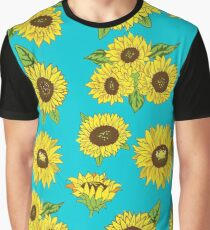 Grunge Sunflower Pattern Graphic T-Shirt