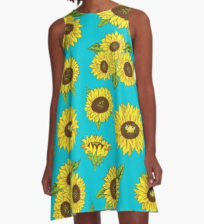 Grunge Sunflower Pattern A-Line Dress