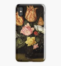 Ambrosius Bosschaert the Elder STILL LIFE OF TULIPS, WILD ROSES, CYCLAMEN, YELLOW RANUNCULUS, FORGET-ME-NOT AND OTHER FLOWERS, IN A GLASS BEAKER iPhone Case/Skin