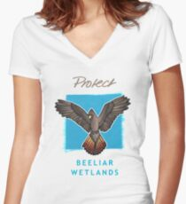 Protect Beeliar Wetlands - blue bgnd Women's Fitted V-Neck T-Shirt