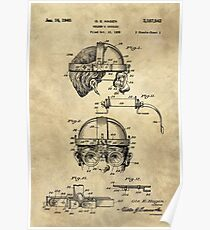 Antique Welders Goggles blueprint drawing, 1938 industrial Poster