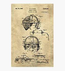 Antique Welders Goggles blueprint drawing, 1938 industrial Photographic Print