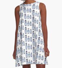 Blue matryoshka doll family A-Line Dress
