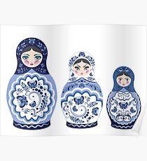 Blue matryoshka doll family Poster
