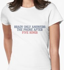 Brady Only Answers The Phone After Five Rings (Navy/Red) T-Shirt