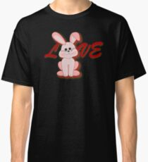 Cute Happy Pink Hopping Rabbit for Easter Bunny Holiday Classic T-Shirt