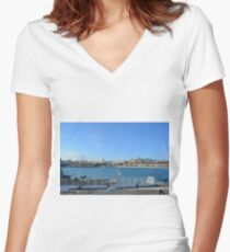 MALAGA, SPAIN, December 28, 2016, People are walking on a promenade surrounded by marina in the port of Malaga in Spain. Women's Fitted V-Neck T-Shirt