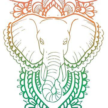 Rainbow Elephant by HollyAstral