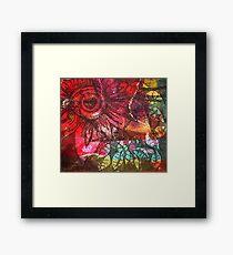 Felt Coloured Wall Flower Framed Print