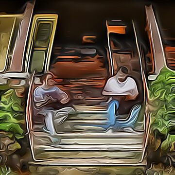 Hanging Out, On the Steps by GreyMouser