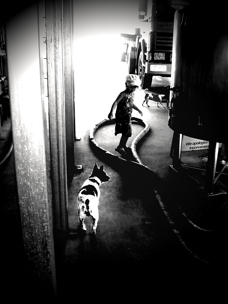 Girl and dog by Michelle Avery