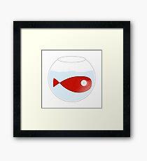 Petit poisson rouge dans un bocal Framed Print