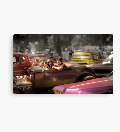 Portrait of a Hot Rod Couple Canvas Print