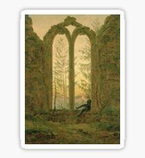 Caspar David Friedrich - Ruins Of The Oybin Monastery (The Dreamer) Sticker