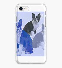 Boston Terrier stencils in Blue iPhone Case/Skin