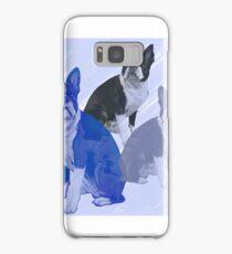 Boston Terrier stencils in Blue Samsung Galaxy Case/Skin
