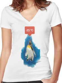 Ice cold penguin Women's Fitted V-Neck T-Shirt