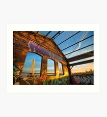 Urban Graffiti Landscape - Stan Musial Veterans Memorial Bridge - St. Louis Missouri Art Print