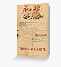 Zombie Apocalypse House Rules Redux Distressed Greeting Card