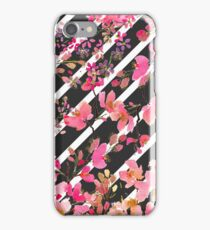 Elegant watercolor floral and stripes pattern.   iPhone Case/Skin