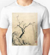 Plum Blossom With Stone And Iris - Ink T-Shirt