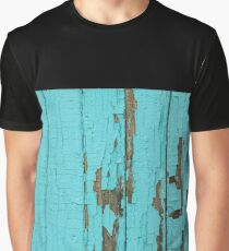 The texture of old wood with paint peeling off. Old wall. Aqua wall. Graphic T-Shirt