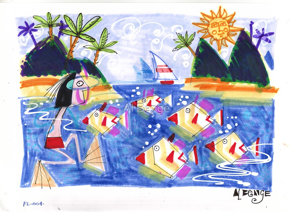 """""""Tropical lagoon with fish and snorkeller by Al Benge"""