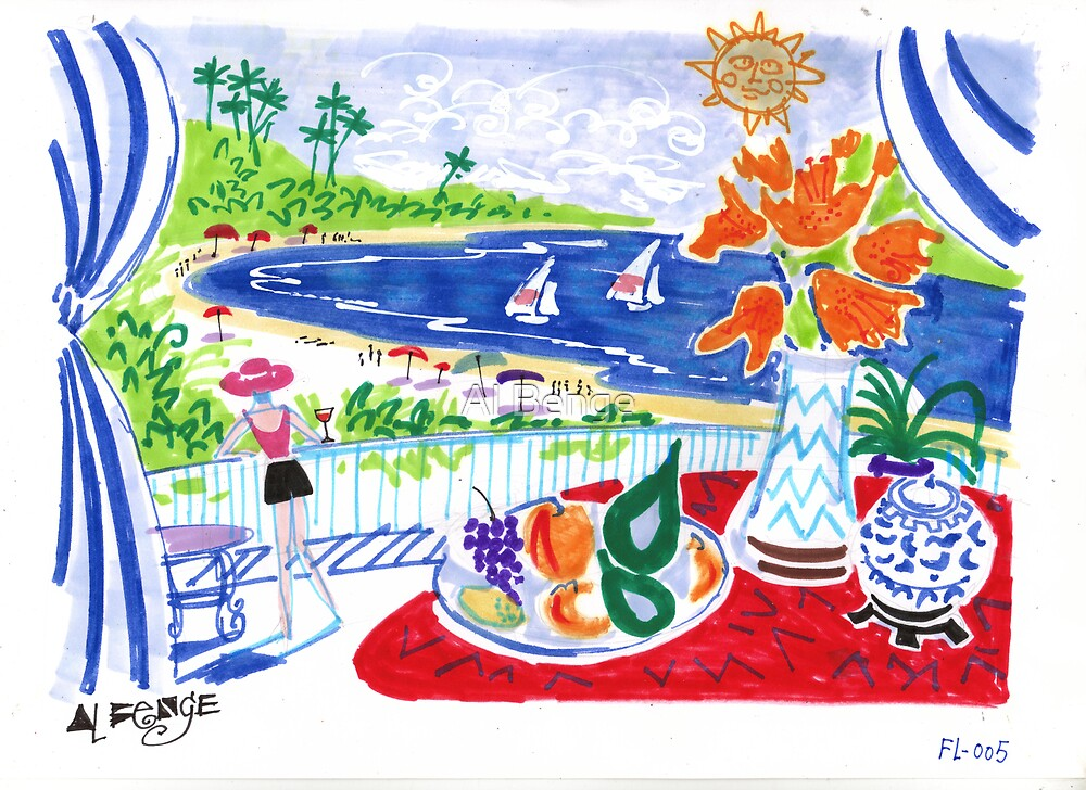 """Fruit bowl on red table overlooking the bay by Al Benge"