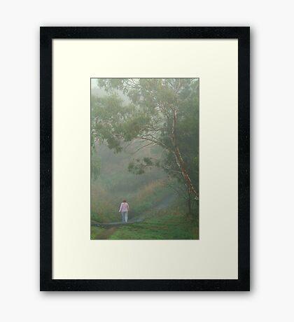Misty Morning Walk,Waurn Pond Creek Framed Print
