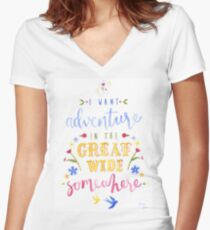 Beauty and the Beast Adventure Typography Women's Fitted V-Neck T-Shirt