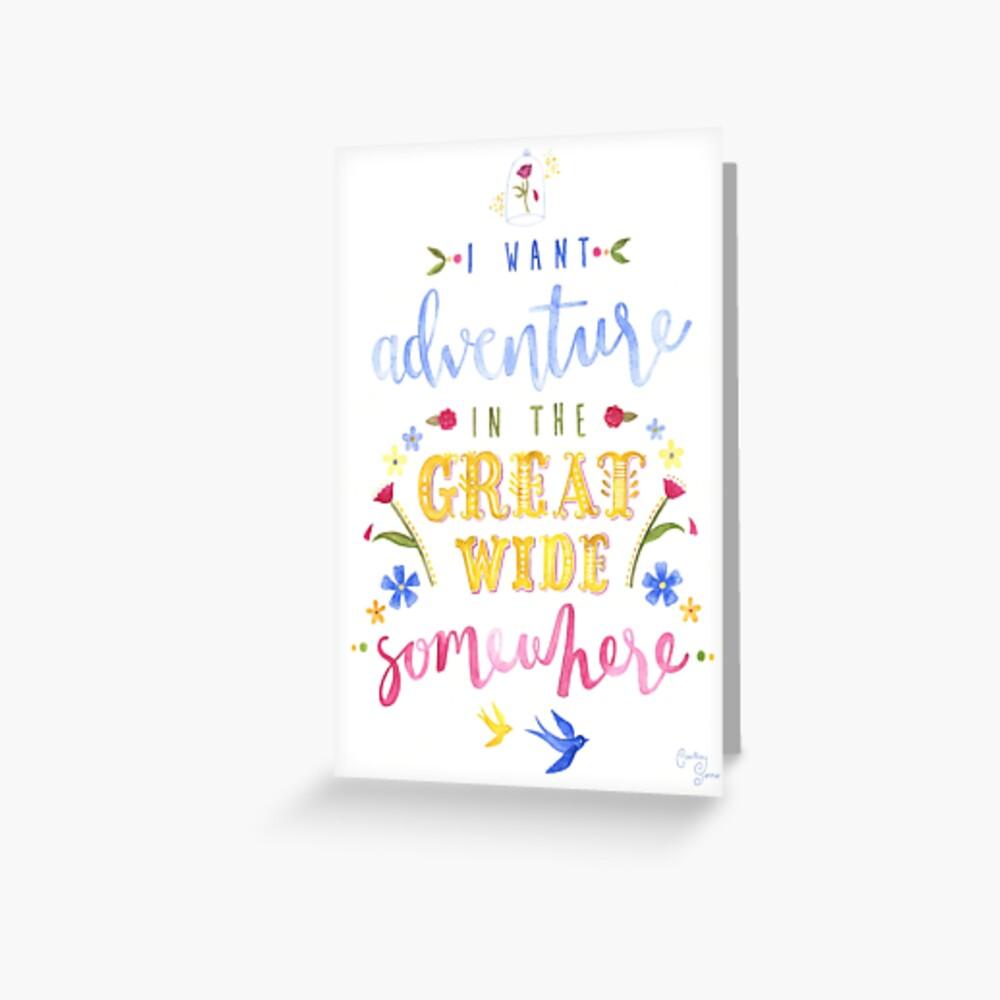 Schönheit und das Biest Abenteuer Typografie Grußkarte