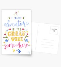 Beauty and the Beast Adventure Typography Postcards