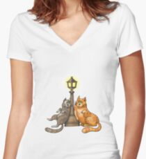 Cute Cat Lovers Rendezvous Women's Fitted V-Neck T-Shirt