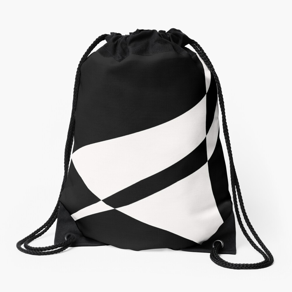 Black and White with a Twist by Julie Everhart Drawstring Bag