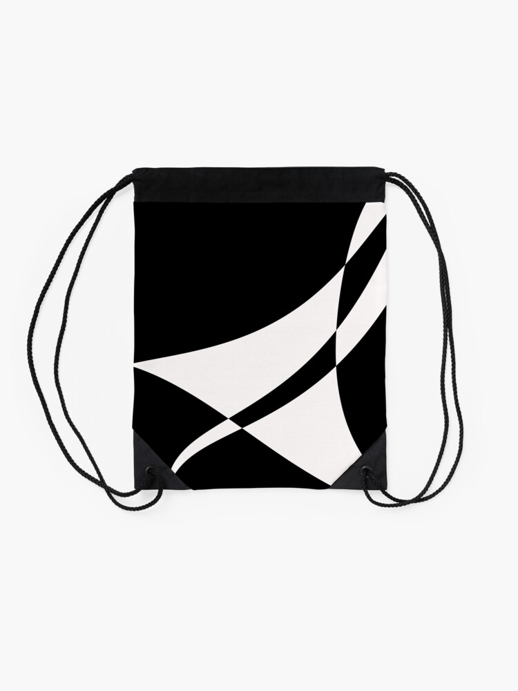 Alternate view of Black and White with a Twist by Julie Everhart Drawstring Bag
