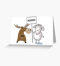 Funny, Political Statements - Peaceful Moose Lamb Greeting Card