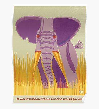 Elephant Conservation Illustration Poster