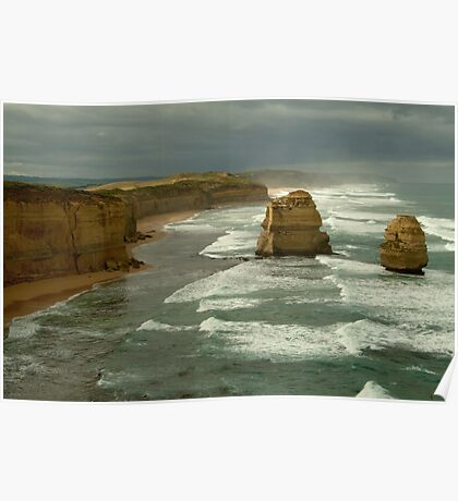 Morning Sunlight and Dark Skies, Great Ocean Rd Poster