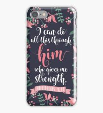 Pink Floral Flower Print Framed Background Philippians 4:13 Bible Verse iPhone Case/Skin