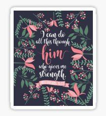 Pink Floral Flower Print Framed Background Philippians 4:13 Bible Verse Sticker