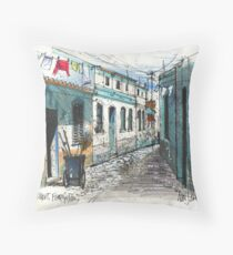 Quiet sidestreet, Ferragudo, Portugal Throw Pillow