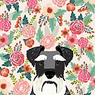Schnauzer florals dog portrait dog art pet portraits by pet friendly by PetFriendly by PetFriendly